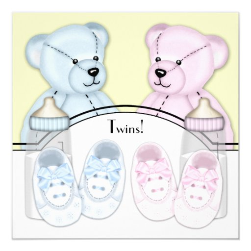 Pink Teddy Bear Baby Shower: Pink Blue Teddy Bear Twin Baby Shower Card