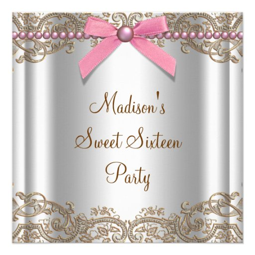 Pink Brown Sweet 16 Birthday Party Custom Invitations