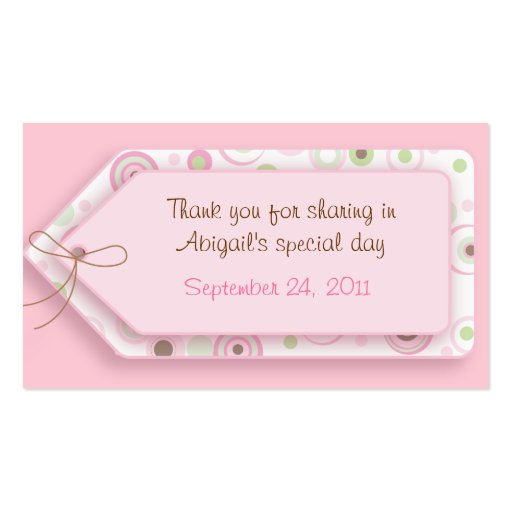 Pink Brown Sweet Polka Dot Favor Tags Business Card Templates
