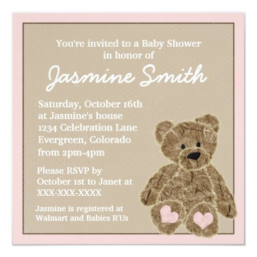 Pink Teddy Bear Baby Shower: Pink Brown Teddy Bear Baby Shower Invitations