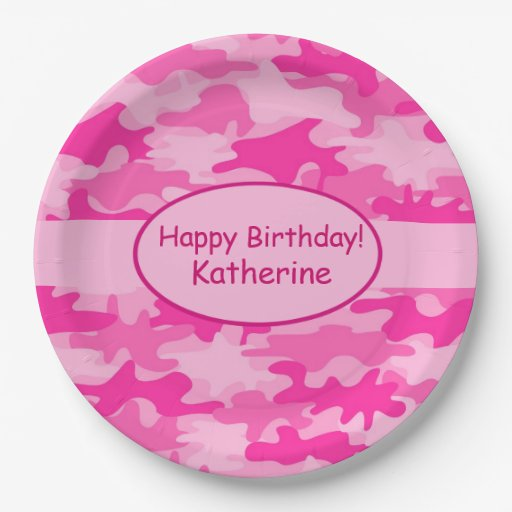 Pink Camo Name Personalized Happy Birthday Party Paper