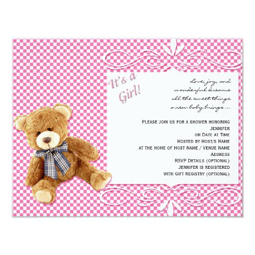 Pink Teddy Bear Baby Shower: Pink Check Teddy Bear Baby Shower Invitation