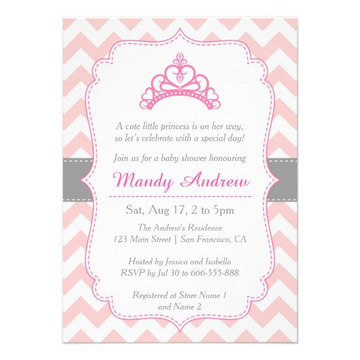 Pink Chevron, Princess Crown, Girl Baby Shower 4.5x6.25