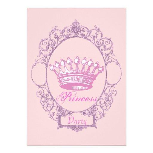 "Pink Crown Princess Birthday Party Invitation 5"" X 7"
