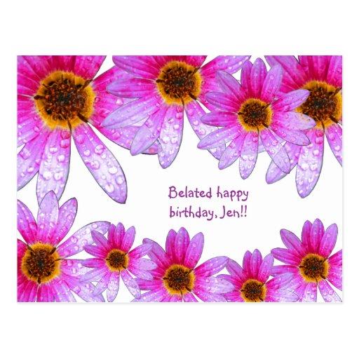 Pink Daisy Belated Happy Birthday Jen Postcard