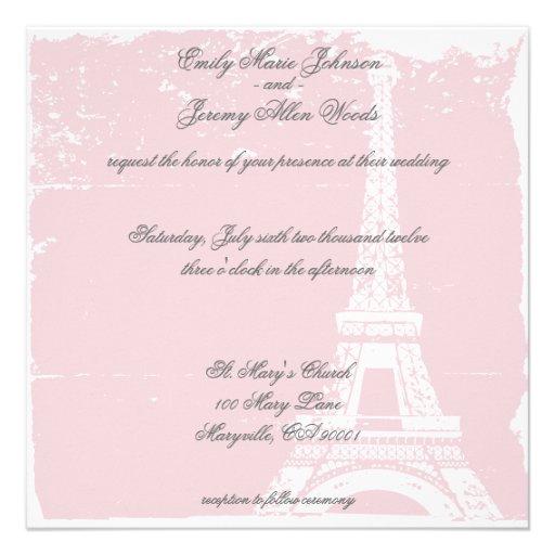 Eiffel Tower Wedding Invitations: Pink Eiffel Tower Wedding Invitations