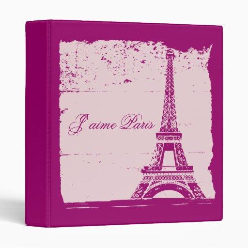 Pink Eiffel Tower Wedding Photo Album 3 Ring Binder