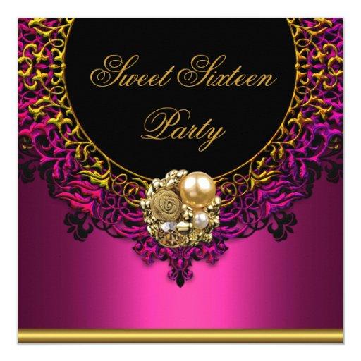 Pink Elegant Sweet Sixteen 16th 16 Birthday Party Card