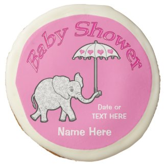 Pink Elephant Cookies for Baby Shower Sugar Cookie