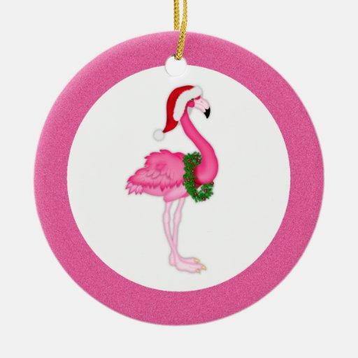 Flamingo Christmas Decorations: Pink Flamingo Santa Ceramic Ornament