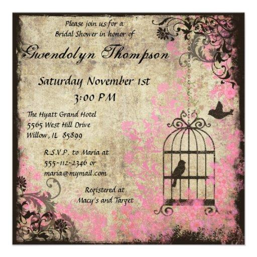 Wedding Invitations Birdcage: Personalized Vintage Bird Cage Wedding Invitations
