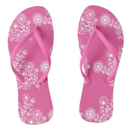 Pink Floral Wedding Reception Flip Flops