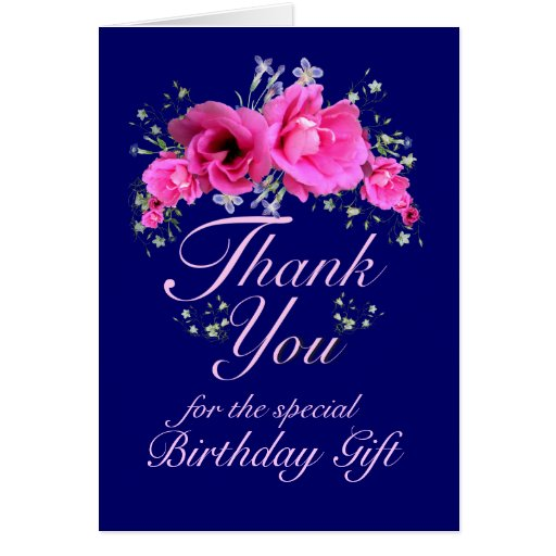 pink flowers thank you for birthday gift card  zazzle