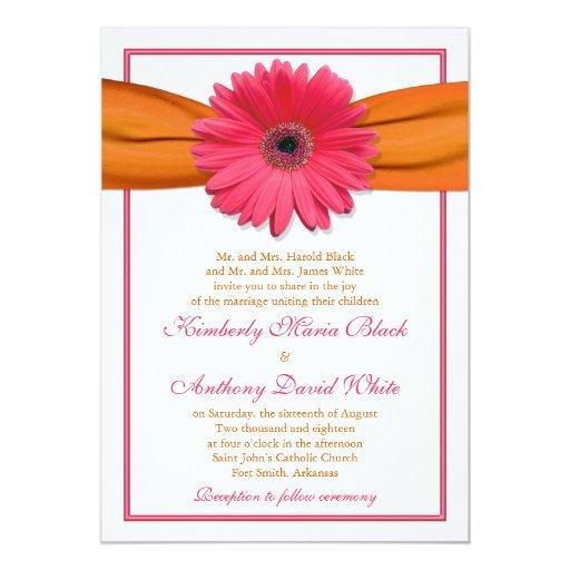 Pink Orange Wedding Invitations: Pink Gerber Daisy Orange Ribbon Wedding Invitation