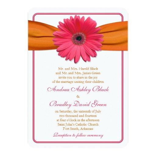 Hot Pink Gerbera Daisy White Wedding Invitation 5 X 7: Pink Gerber Daisy Orange Ribbon Wedding Invitation