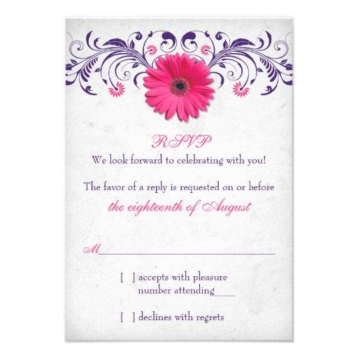 Hot Pink Gerbera Daisy White Wedding Invitation 5 X 7: Pink Gerber Daisy Purple Grey Floral Wedding RSVP