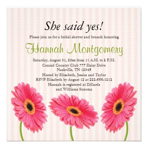 "Gerbera Wedding Invitations: Pink Gerbera Daisy Bridal Shower Invitations 5.25"" Square"