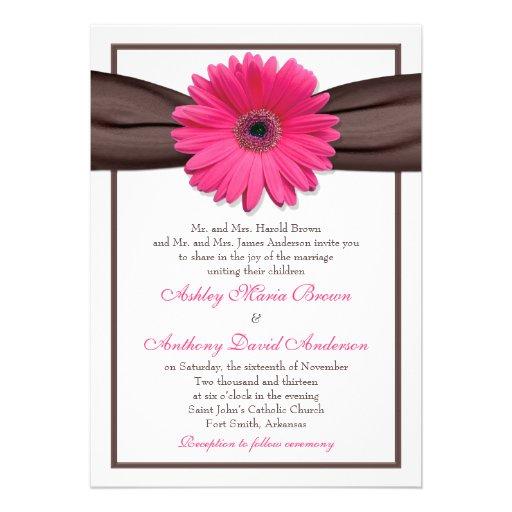 Hot Pink Gerbera Daisy White Wedding Invitation 5 X 7: Pink Gerbera Daisy Brown Ribbon Wedding Invitation