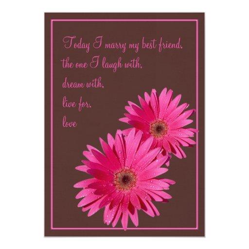Gerbera Wedding Invitations: Pink Gerbera Daisy Brown Wedding Invitation