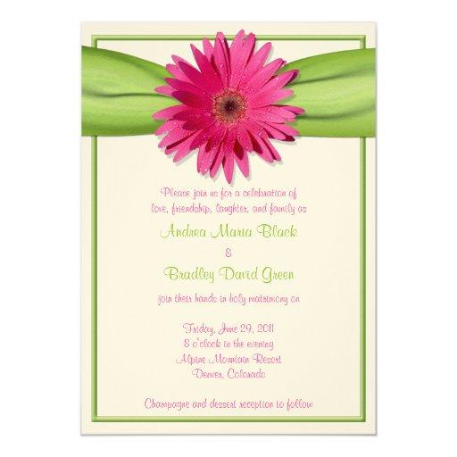 Gerbera Wedding Invitations: Pink Gerbera Daisy Green Ribbon Wedding Invitation