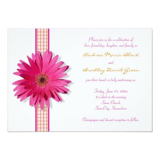 Pink Gerbera Daisy Plaid Ribbon Wedding Invitation