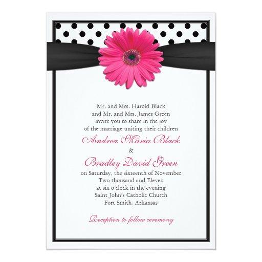 Pink Gerbera Daisy Polka Dot Wedding Invitation
