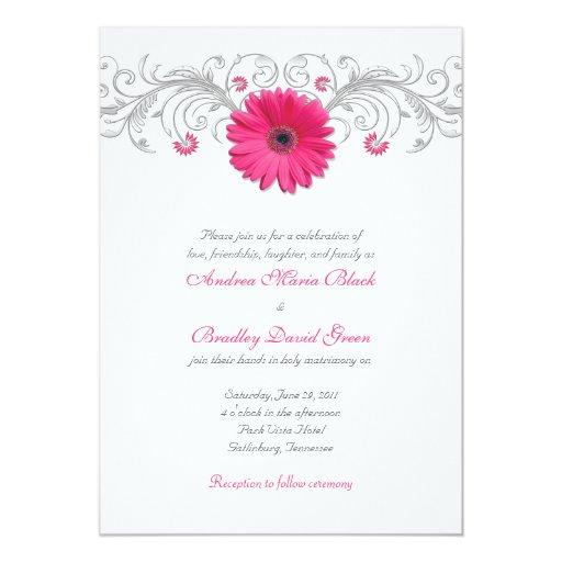 Pink Gerbera Daisy Silver Floral Wedding 5x7 Paper