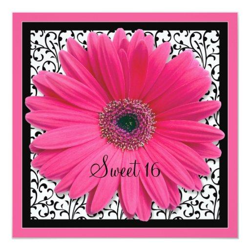 Pink Gerbera Daisy Sweet 16 Birthday Invitation