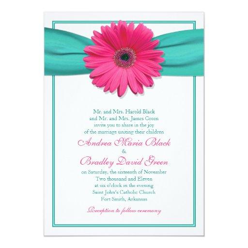 Wedding Invitations Turquoise: Pink Gerbera Daisy Turquoise Wedding Invitation