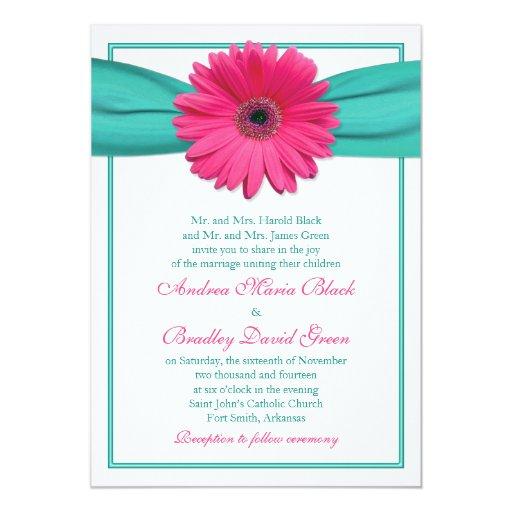 "Hot Pink Gerbera Daisy White Wedding Invitation 5 X 7: Pink Gerbera Daisy Turquoise Wedding Invitation 5"" X 7"