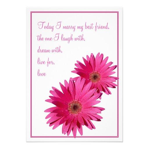 "Hot Pink Gerbera Daisy White Wedding Invitation 5 X 7: Pink Gerbera Daisy Wedding Invitation 5"" X 7"" Invitation"
