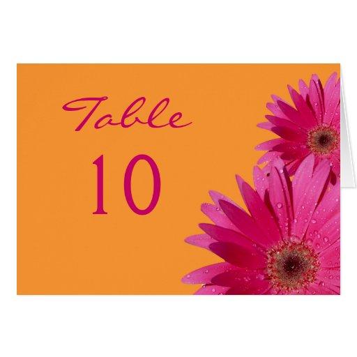 Hot Pink Gerbera Daisy White Wedding Invitation 5 X 7: Pink Gerbera Daisy Wedding Table Card