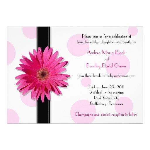 "Gerbera Wedding Invitations: Pink Gerbera Polka Dot Wedding Invitation 5"" X 7"