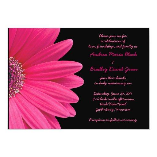 Gerbera Wedding Invitations: Pink Gerbera Wedding Invitation - Pink And Black