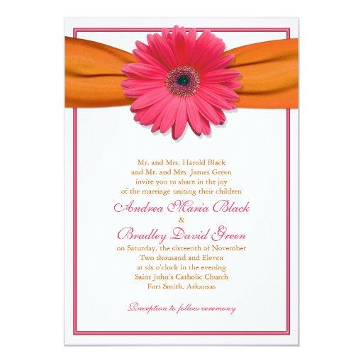 Gerbera Wedding Invitations: Pink Gerbera With Orange Ribbon Wedding Invitation