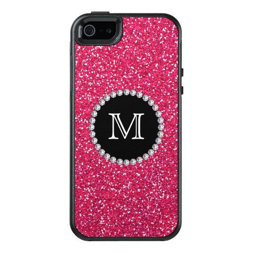 Pink Glitter Diamond Girly Monogrammed Otterbox Iphone