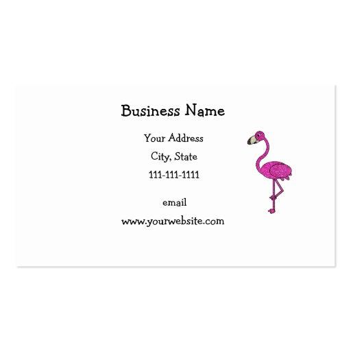 Pink Glitter Flamingo Business Card Template