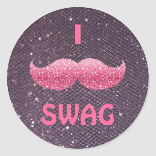 Design Your Own Swag Contest Ends Today: Pink Glitter 'I Mustache SWAG' Stickers