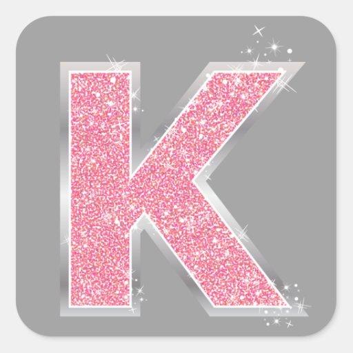 Pink Glitter letter K Square Sticker | Zazzle
