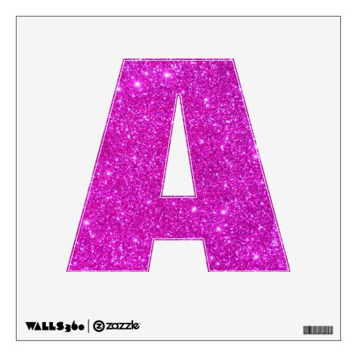Pink Glitter Sparkle Wall Decal Letter A | Zazzle