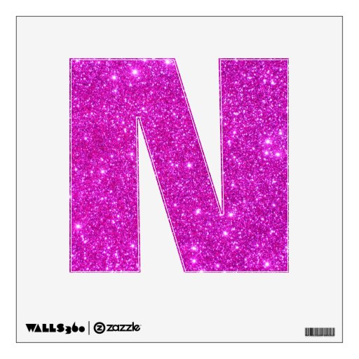 Pink Glitter Sparkle Wall Decal Letter Alphabet N | Zazzle