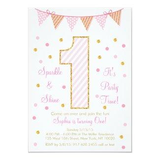 Pink Gold Glitter First Birthday Invitations