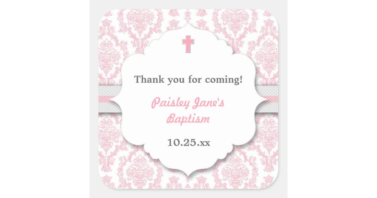Pink Gray Damask girl Christening Baptism favor Square ...
