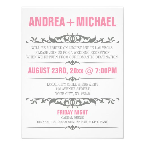 """Wedding Reception Only Invitations: Pink & Gray Wedding Reception ONLY Invitations 4.25"""" X 5.5"""