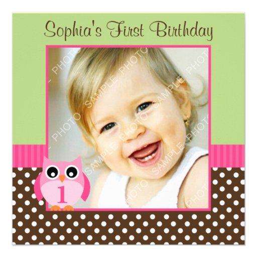 Pink Green Owl Polka Dot 1st Birthday Girl Photo 5.25x5.25