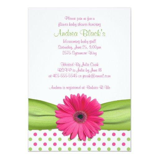 Pink Green Polka Dot Daisy Baby Shower Invitation