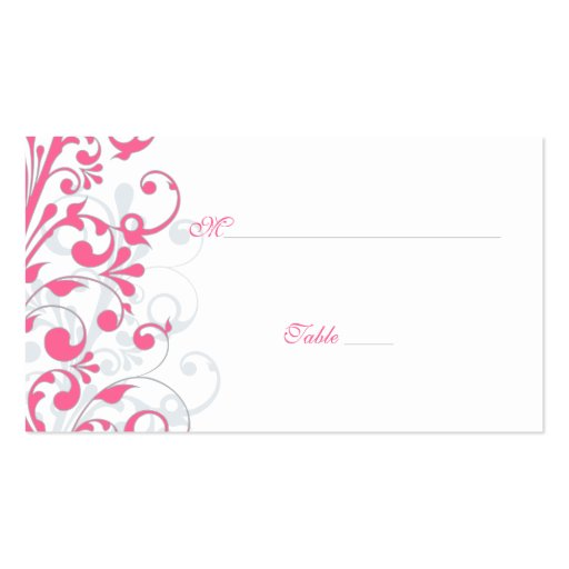 double sided place card template - pink grey white floral wedding place cards double sided