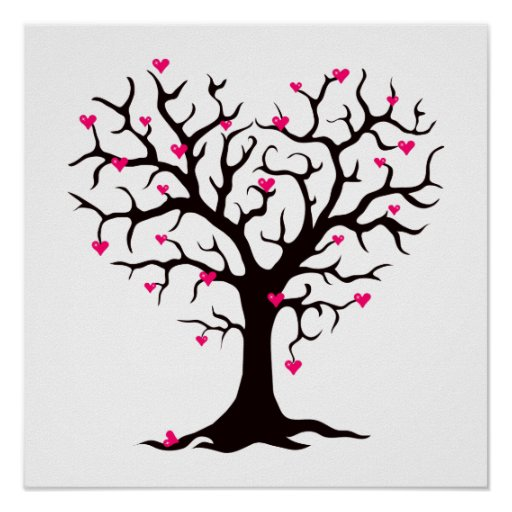 Pink Heart Tree Silhouette Poster   Zazzle