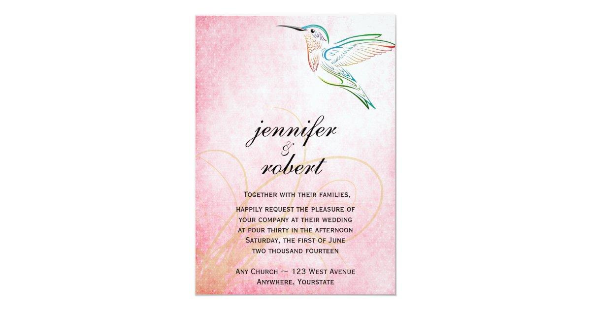 Hummingbird Wedding Invitations: Pink Hummingbird Watercolor Wedding Invitation