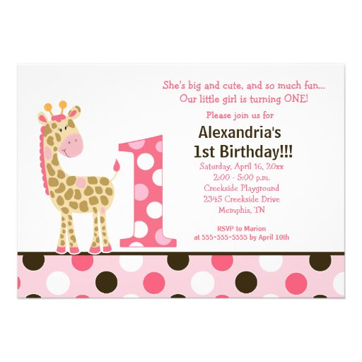"Pink Zebra Print Girls 1st Birthday Invitation: Pink Jungle Giraffe 1st Birthday Invitation 5x7 5"" X 7"